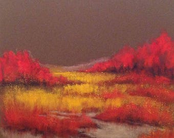 Dogwood and reeds - original acrylic landscape with red and yellow pastels on paper