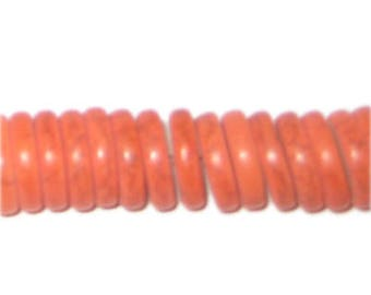 "12mm Orange Heishi Beads - 2.5"" string"