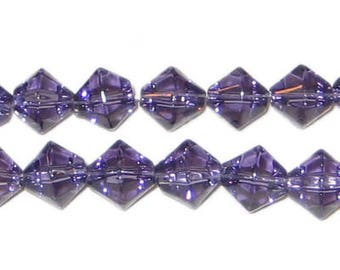 8mm Light Purple Bi-cone Fire Polish Glass Bead