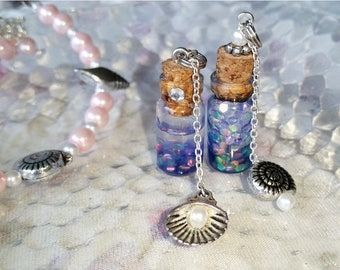 Mermaid Scales - Bottle Charm Necklace