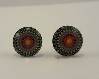 Circle pattern dome studded earrings, festival inspired earrings, hippy style earrings, festival jewellery