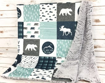 Custom Minky Blanket - Lovey - Lovey Blanket - Blue Blanket - Boy Lovey - Rustic Blanket - Moose Blanket - Baby Lovey - Bear Blanket