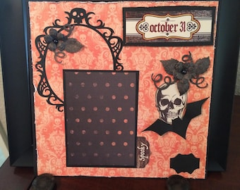 Halloween pre-made Scrapbook page, 8 x 8 inch,   ready for 3 x 4 inch photo,  October 31, Skull, bat, perfect to display Halloween photo