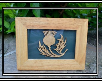 Hand-Crafted Picture. Small Thistle in Oak frame.