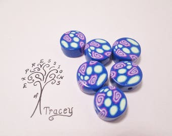 Blue disc shape beads, polymer clay beads, handmade beads