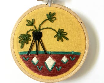Mid Century Potted Plant Hand Embroidery Hoop