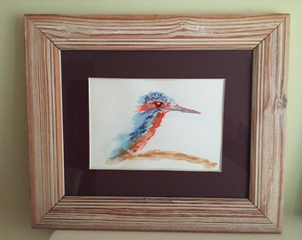 Original watercolour painting of a Kingfisher.