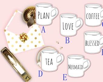 Rae Dunn Coffee Mugs Planner Die Cut, Rae Dunn Font, Coffee Cup Die Cuts, Scrapbook Die Cut, Planner Accessories