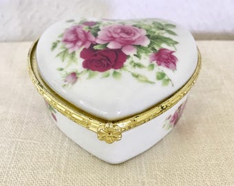 Vintage Heart Shaped Rose Trinket Box