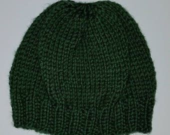 Green knit baby beanie