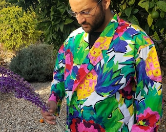 WOW Floral Pineapple Double-Breasted Blazer  SWAGTASTIC