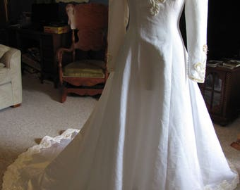 vintage long sleeved wedding dress, upycle, DIY, medieval, gothic, modest, retro, beaded, eggshell, costume, cosplay, vampire, fantasy