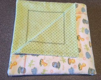 Baby Blanket, White/Blue/Yellow/Green, Flannel, Double Layered Reversible,  Boy, Self Binding, Receiving Blanket Gift