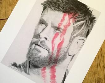 Thor pencil drawing - high quality print