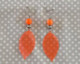 Earrings leaves and pearl pearl orange fluo summer