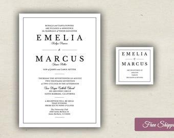 Elegant Bold Type Wedding Invitation Set Printed