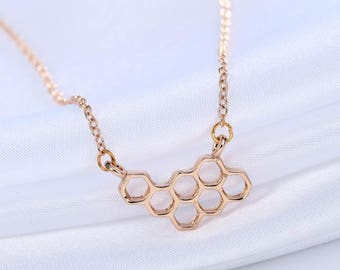 "Honeycomb bee honey pendant necklace with chain gold plated 15-17"" long unique for the bee lover"