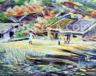 HILL SIDE VILLAGE: Downloadable Authentic African Painting Direct From The Artist