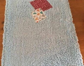 Cwtchy Teddybear fleece dog blanket with cotton backing