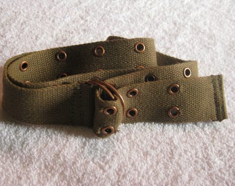 Khaki Green Canvas Grommet belt
