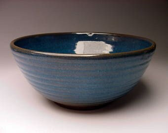 Listed 1988 Texas ARTIST Harding Black (1912-2004) blue studio pottery bowl San Antonio