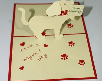 Popup cards 3D card birthday dog
