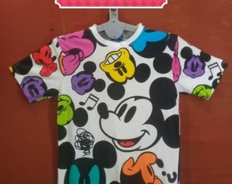 Vintage Mickey Mouse Shirt Emotion Mickey Face Shirt Fullprint White Colour Size M Walt Disney Shirts Mickey Mouse Sweatshirt