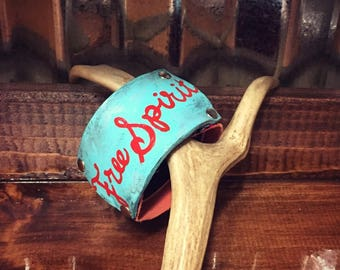 Free spirit painted leather snakeskin cuff