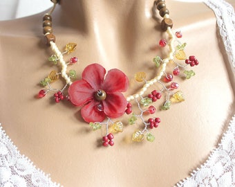 Red Spring necklace summer geranium flower