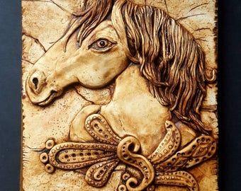 Horse journal cover, horse notebook, pony, Horse, polymerclay, clay book cover,bas relief,clay art,decorative.