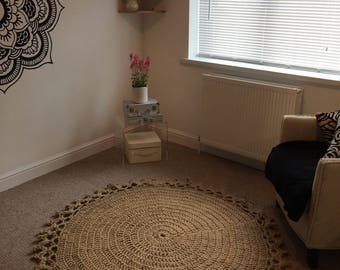 Chunky Jute Crochet Rug 142cm diameter