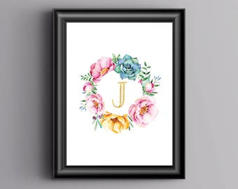 Girls Initial Print, Personalised, Bedroom, Home Print, A4 or A5, Quality Paper