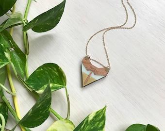 Triangle Pendant Necklace, Deco Pendant, Laser Cut Necklace, Modern Jewelry Design, Triangle Necklace, Laser Cut Pendant, Art Deco Necklace