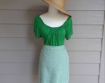Talbott's Green and White Skirt