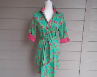Seahorse Pattern Shirt Waist Dress