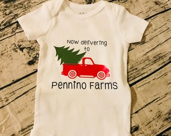Personalized vintage truck tree delivery onesie or tee