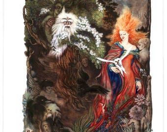 Merlin and Vivienne Archival Quality Print, Watercolour Painting, Mythology, Fantasy Illustration