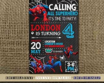 Spiderman Invitation,Spiderman Birthday,Spiderman Birthday Invitation,Spiderman Party,Spiderman Editable,Spiderman-SL14