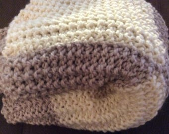 Oversized hand knitted throw