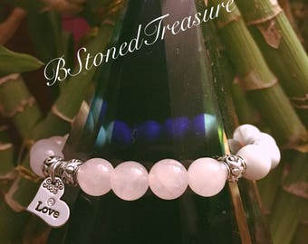 Swarovski crystal pendant and rose quartz love bracelet