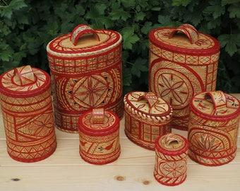 A set of birch bark boxes made in the Mesenskaya mural