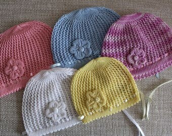 Baby Knit Hat, Cotton Hat, Sun Hat for Baby Girl, Summer hat for babies