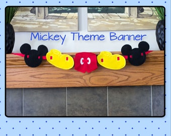 Mickey Theme Banner-Felt Embroidered Banner-Birthday Decoration-Mickey Banner- Mickey Decor-Bedroom-Nursery-Playroom Decor-Mickey Banner