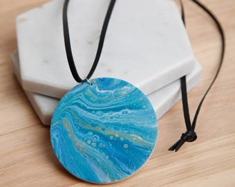 Wooden Fluid Acrylic Necklace with Leather