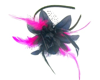 Navy and hot pink fascinator headband, Special Events,Races, Weddings