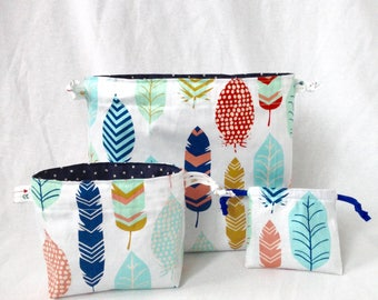 Feather Drawstring Tote Bag