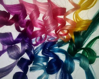 "Set of 4 - 2"" Real Human Hair Extensions, Colored Clip In Hair Extension, Dyed Extensions, Festival Hair, Hair Weave"