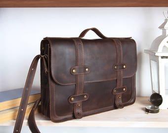 Leather briefcase satchel,leather briefcase men,leather laptop bag,13 inch laptop bag,laptop briefcase 13,Handmade satchel bag,Brown leather