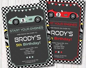 Race Car Birthday Invitation, Race Invitation, Racing Car Invite, printable