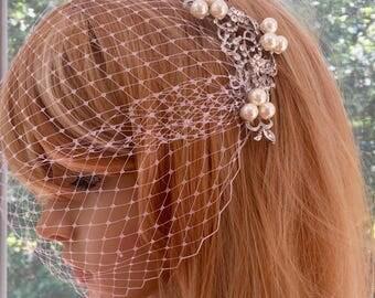 Comb and Veil, Headpiece and Veil, Fascinator and Veil, Pearl Bridal Veil, Bridal Veil Comb, Wedding Veil Comb